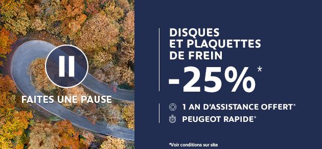 Faites une pause : Disques et Plaquettes de frein -25%